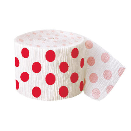 Party Paper Polka Dot Crepe Streamers 30 ft - Ruby Red