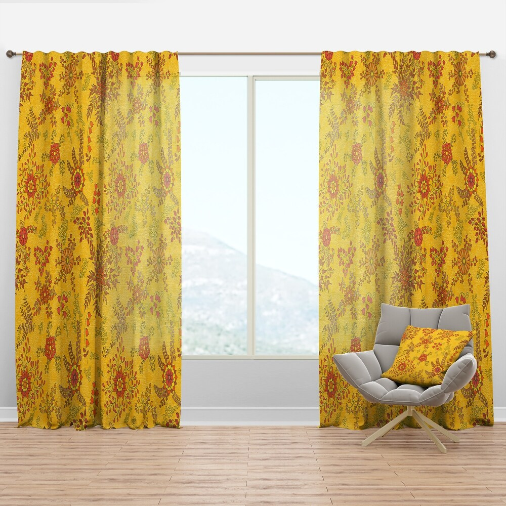 Designart 'Colorful Botanic Texture' Bohemian & Eclectic Curtain Panel (50 in. wide x 108 in. high - 1 Panel)