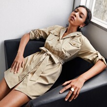 Lapel Neck Roll Up Sleeve Belted Dress