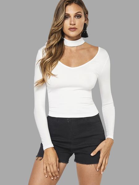 Yoins White Sexy Halter V-neck T-shirt