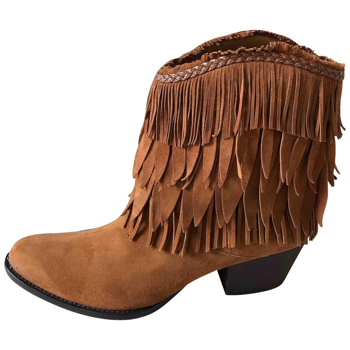 Aquazzura \N Camel Suede Ankle boots for Women 36 EU
