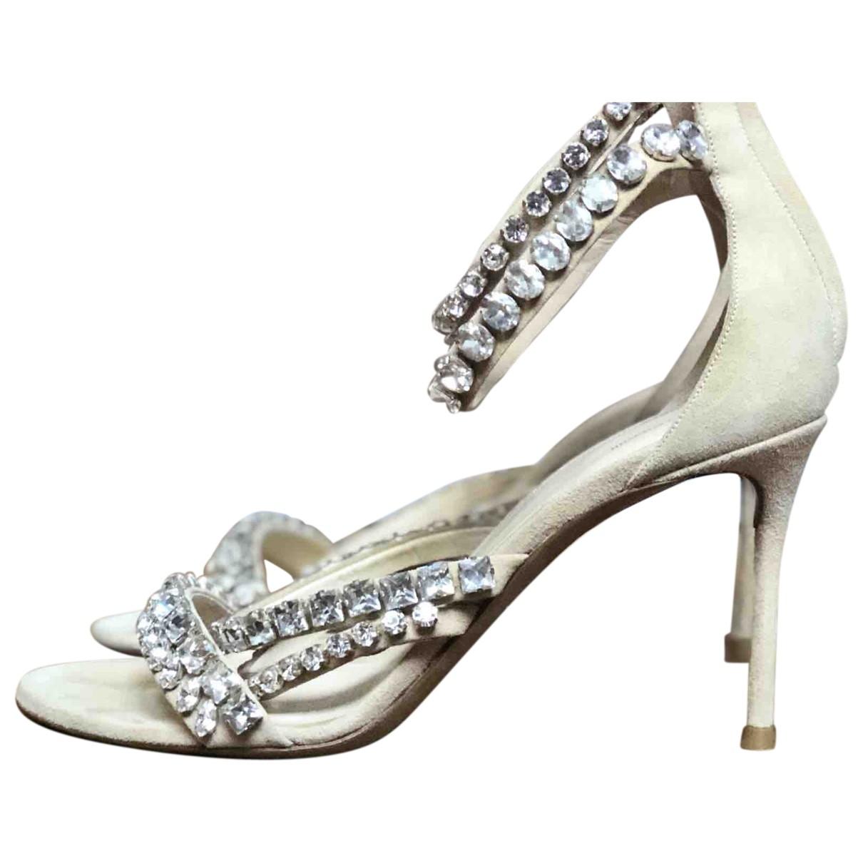 Roberto Cavalli \N Beige Suede Sandals for Women 38 EU