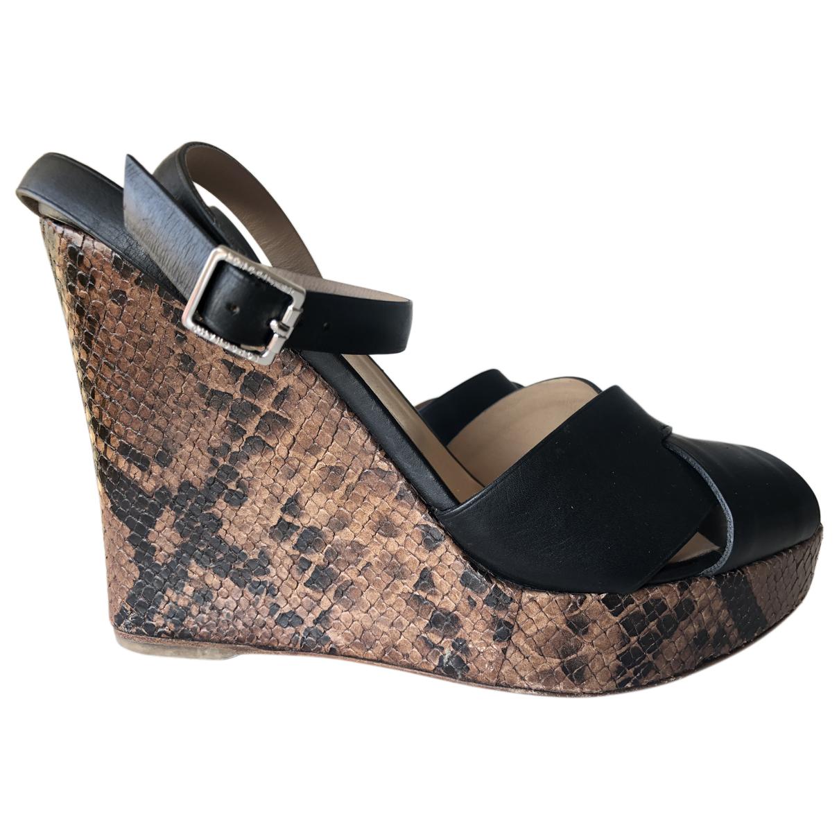 Longchamp \N Black Leather Sandals for Women 37 EU