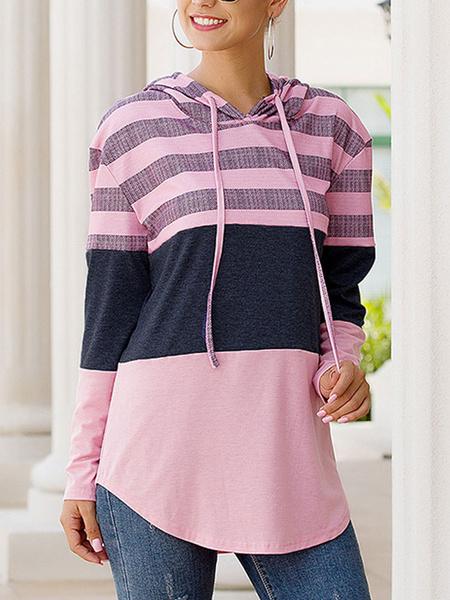 Milanoo Hoodie For Women Pink Long Sleeves Printed Polyester Color Block Stripes Hooded Sweatshirt