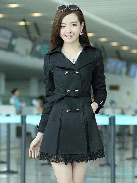 Milanoo Mezcla de algodon negro vestido abrigo para mujer