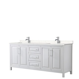Daria 80 Inch Double Vanity, Cultured Marble Top (White, Light-Vein Carrara Cultured Marble)