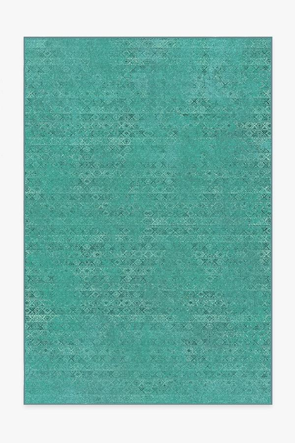 Washable Rug Cover & Pad | Gabbeh Teal Blue Rug | Stain-Resistant | Ruggable | 6x9
