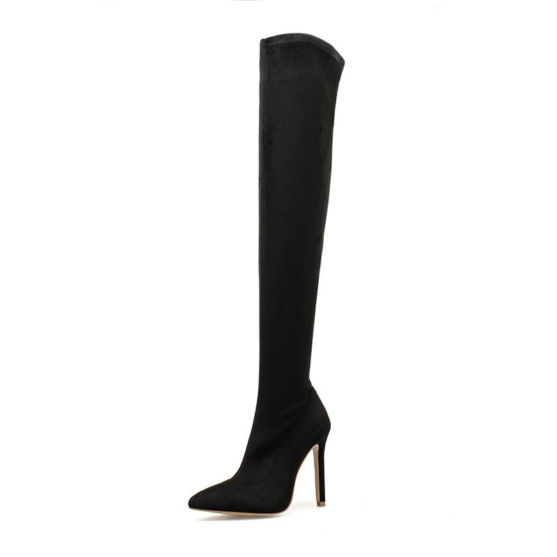 Ericdress Pointed Toe Plain Stiletto Heel Women's Over-The-Knee Boots
