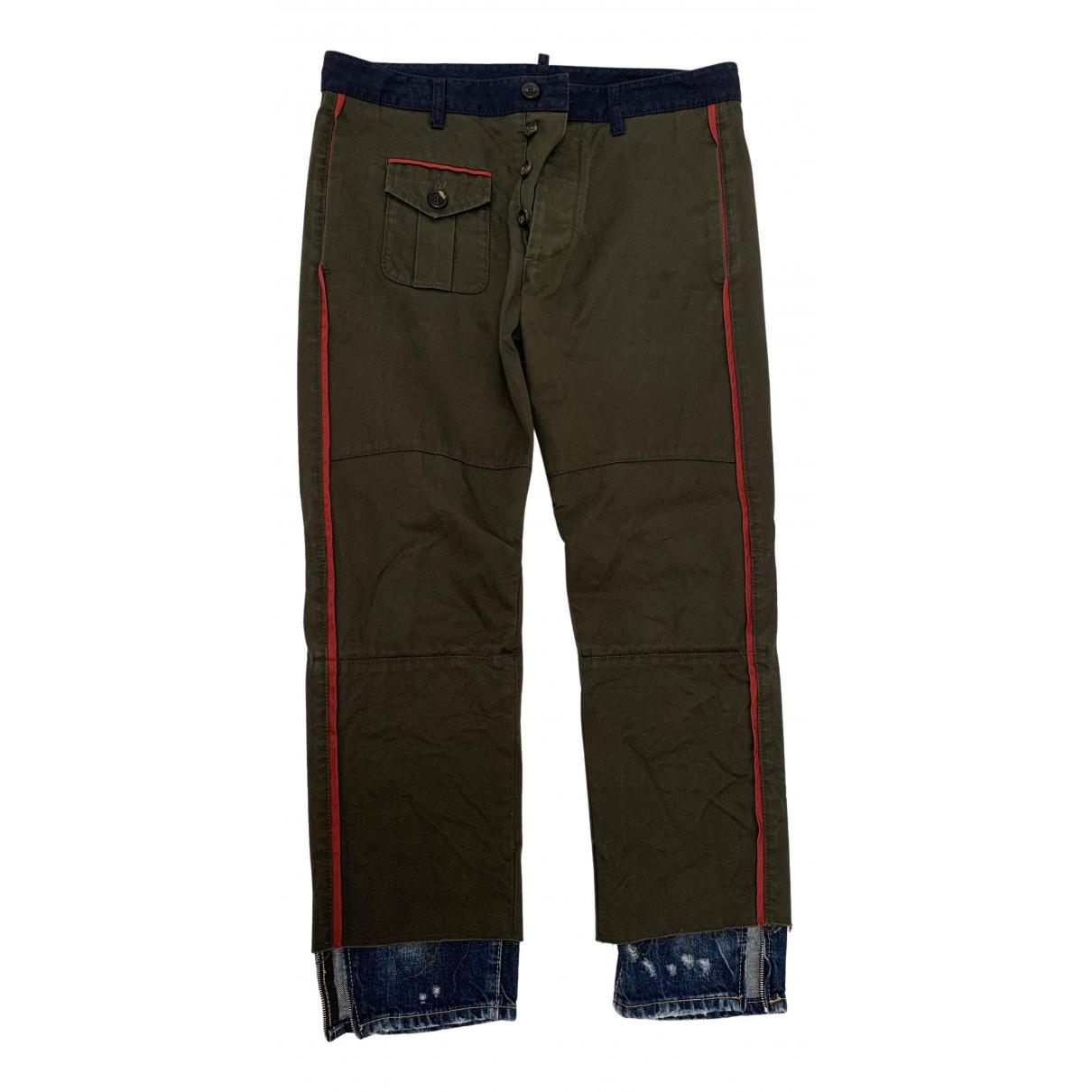 Dsquared2 \N Khaki Cotton Trousers for Men 44 IT