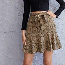 Ruffle Hem Belted All Over Print Skirt