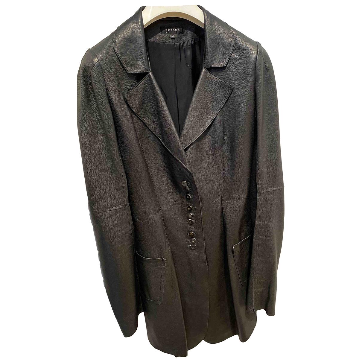 Jitrois - Manteau   pour femme en cuir - noir