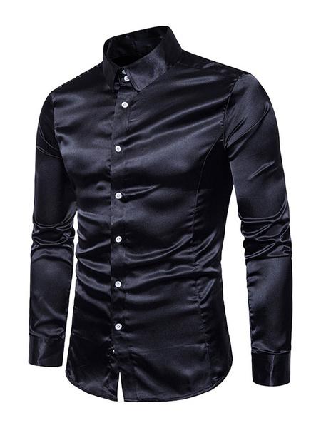 Milanoo Dark Navy Shirt Long Sleeve Turndown Collar Casual Shirts For Men