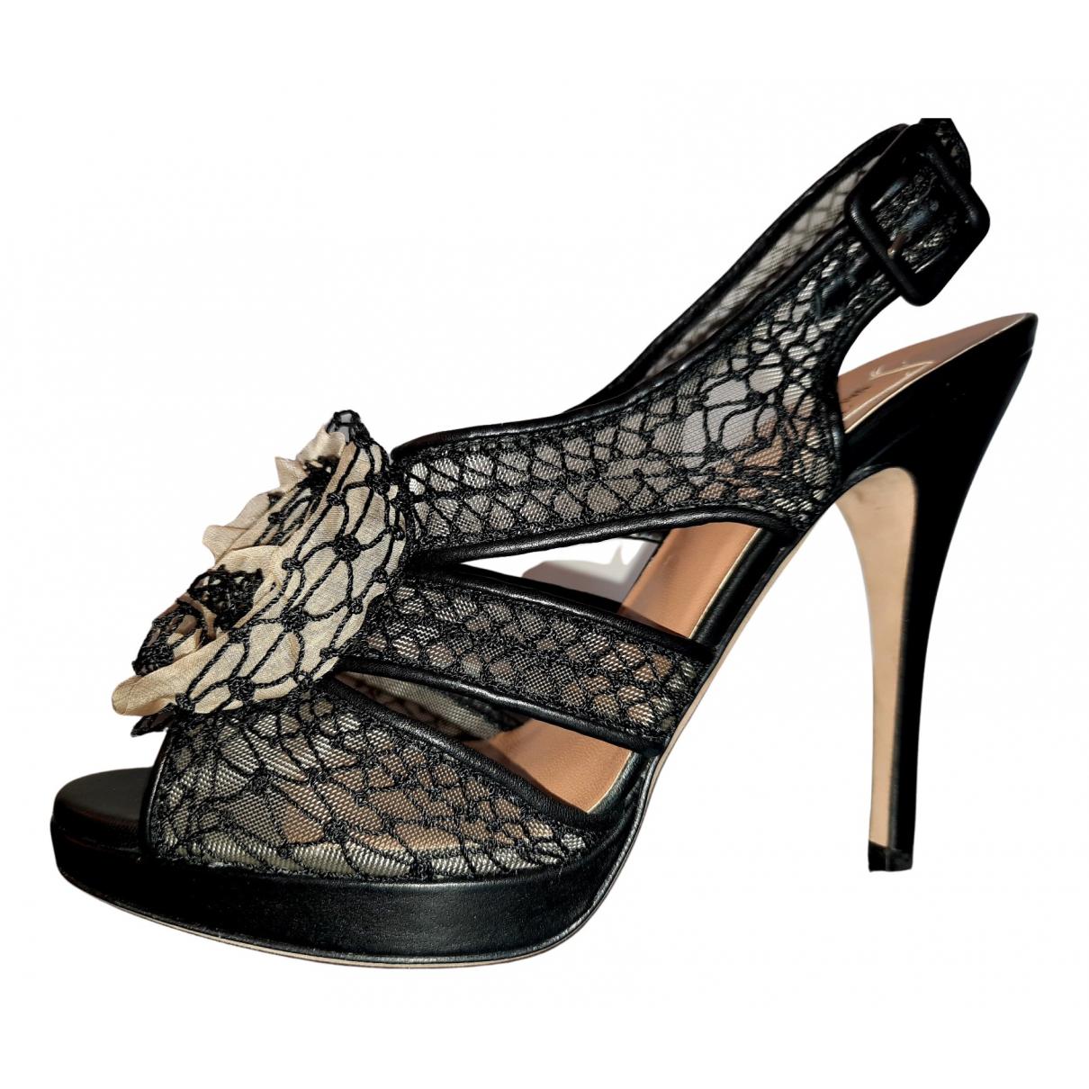 Valentino Garavani - Sandales   pour femme en toile - noir