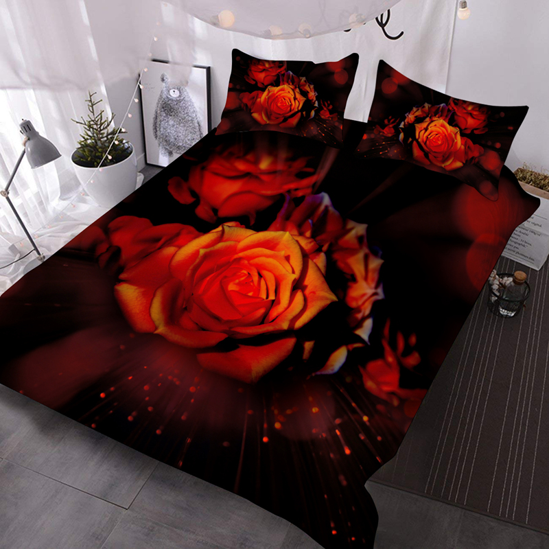 Romantic Red Roses 3Pcs 3D Lightweight Comforter Insert with 2 Pillow Covers Microfiber Wrinkle/Fade Resistant Comforter