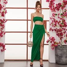 Solid Tube Crop Top & Split Thigh Twist Skirt Set