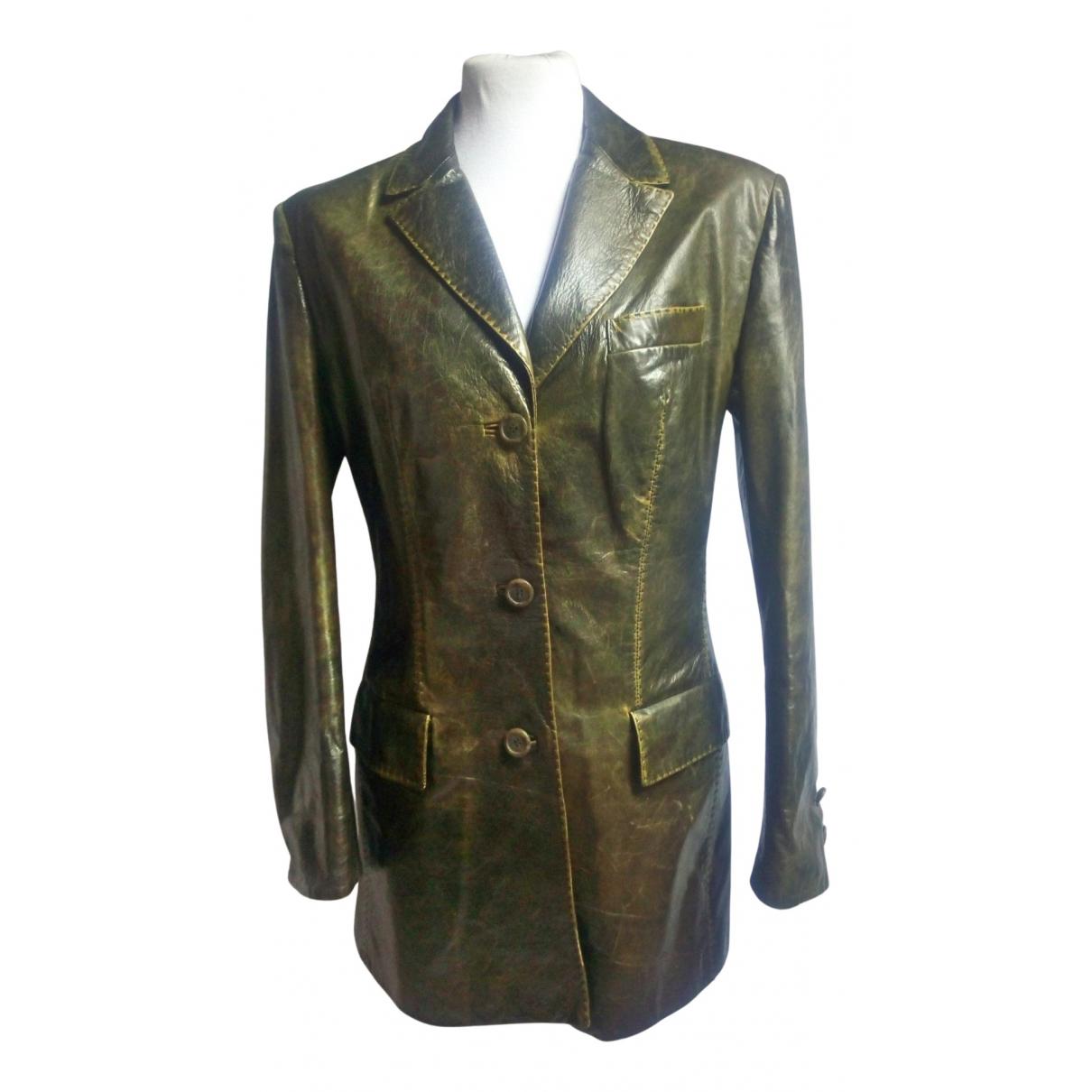 Roberto Cavalli N Green Leather jacket for Women 44 IT