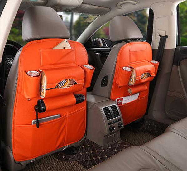 Microfiber Leather Auto Storage Seat Back Bag One-Pair Car Backseat Organizer