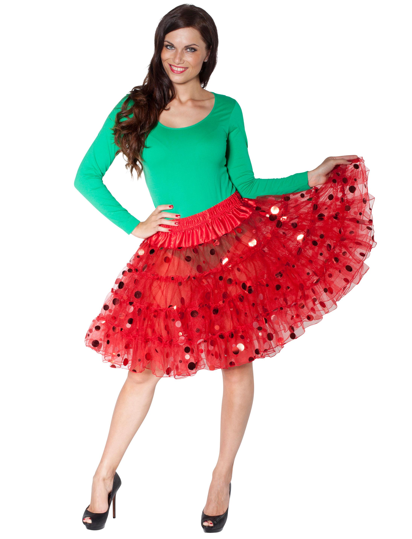 Petticoat mit roten Metallic Punkten rot