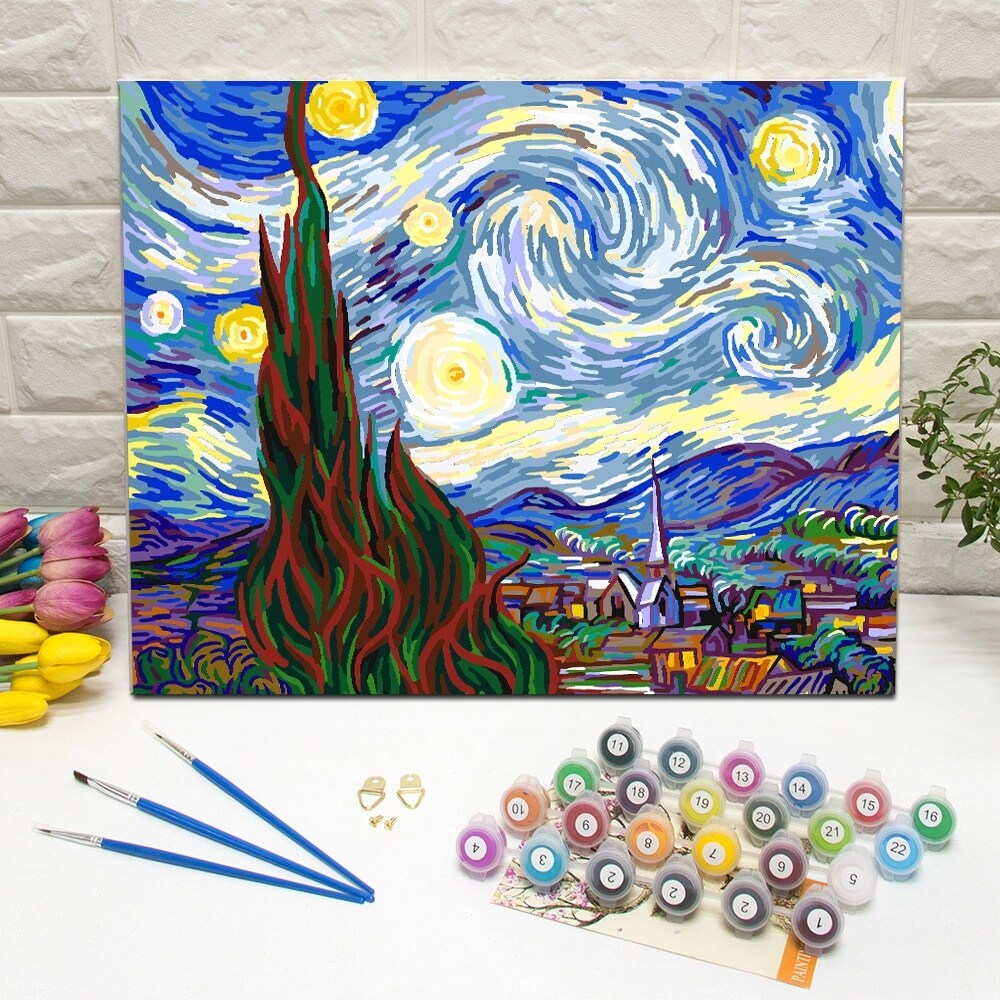 Van Gogh. Starry Night Paint-by-Number Kit for Kids & Adults (16 Years and Up)