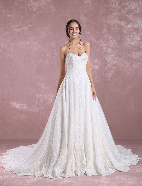 Milanoo Lace Wedding Dress Ivory Bridal Dress Sweetheart Strapless Sequin Beading Backless A Line Bridal Gown With Cathedral Train