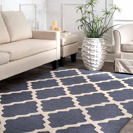 nuLoom Hand Hooked Marrakech Trellis Rug, One Size , Blue