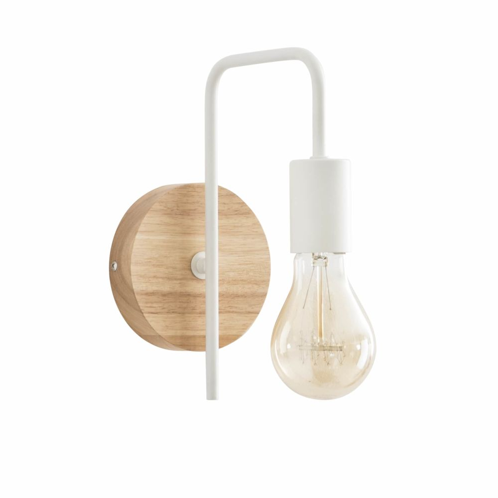 Wandlampe aus Metall und Kautschukbaumholz