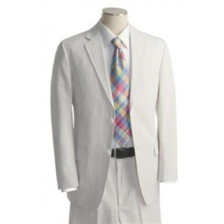 Mens 2 Button White Tone on Tone Suit 130