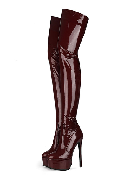 Milanoo Over The Knee Boots PU Leather Burgundy Round Toe Stiletto Heel High Heel Thigh High Boots