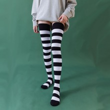 Striped Pattern Over The Knee Socks