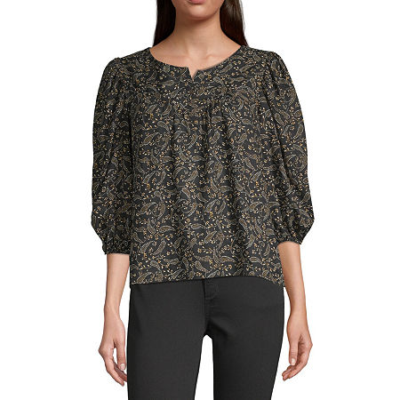 a.n.a-Tall Womens Henley Neck 3/4 Sleeve Peasant Top, Xx-large Tall , Black