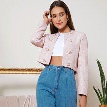 Open Front Tweed Crop Jacket