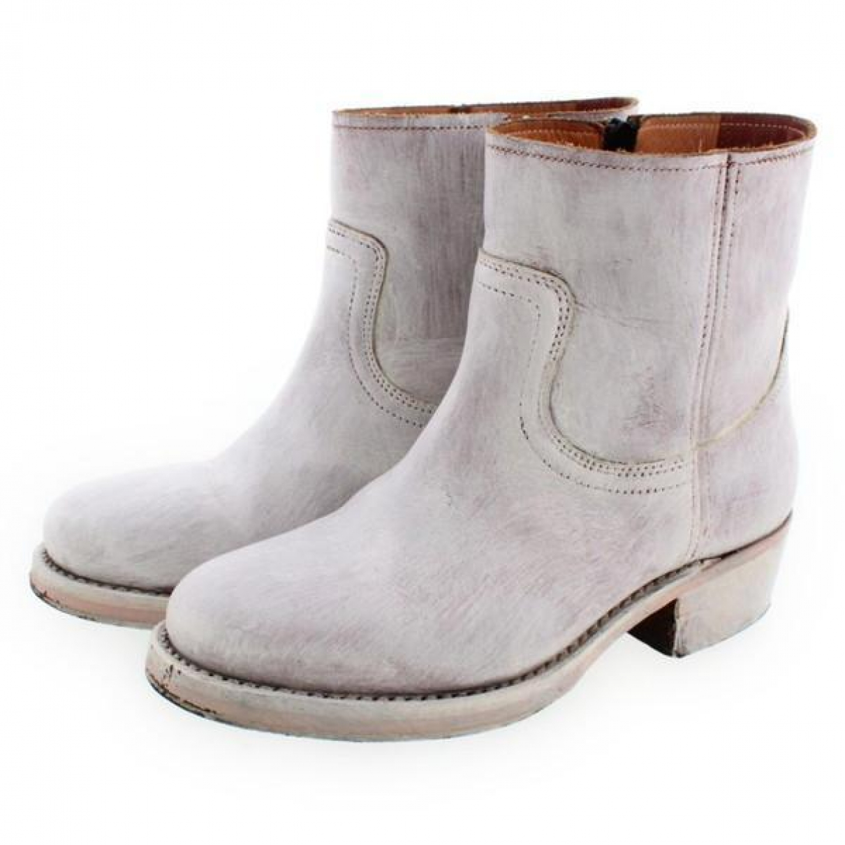 Maison Martin Margiela N White Leather Ankle boots for Women 37 EU