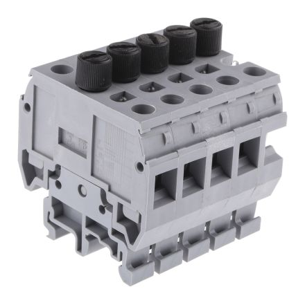 Entrelec , MB, 600 V Fused DIN Rail Terminal, Screw Clamp Termination, Grey (5)