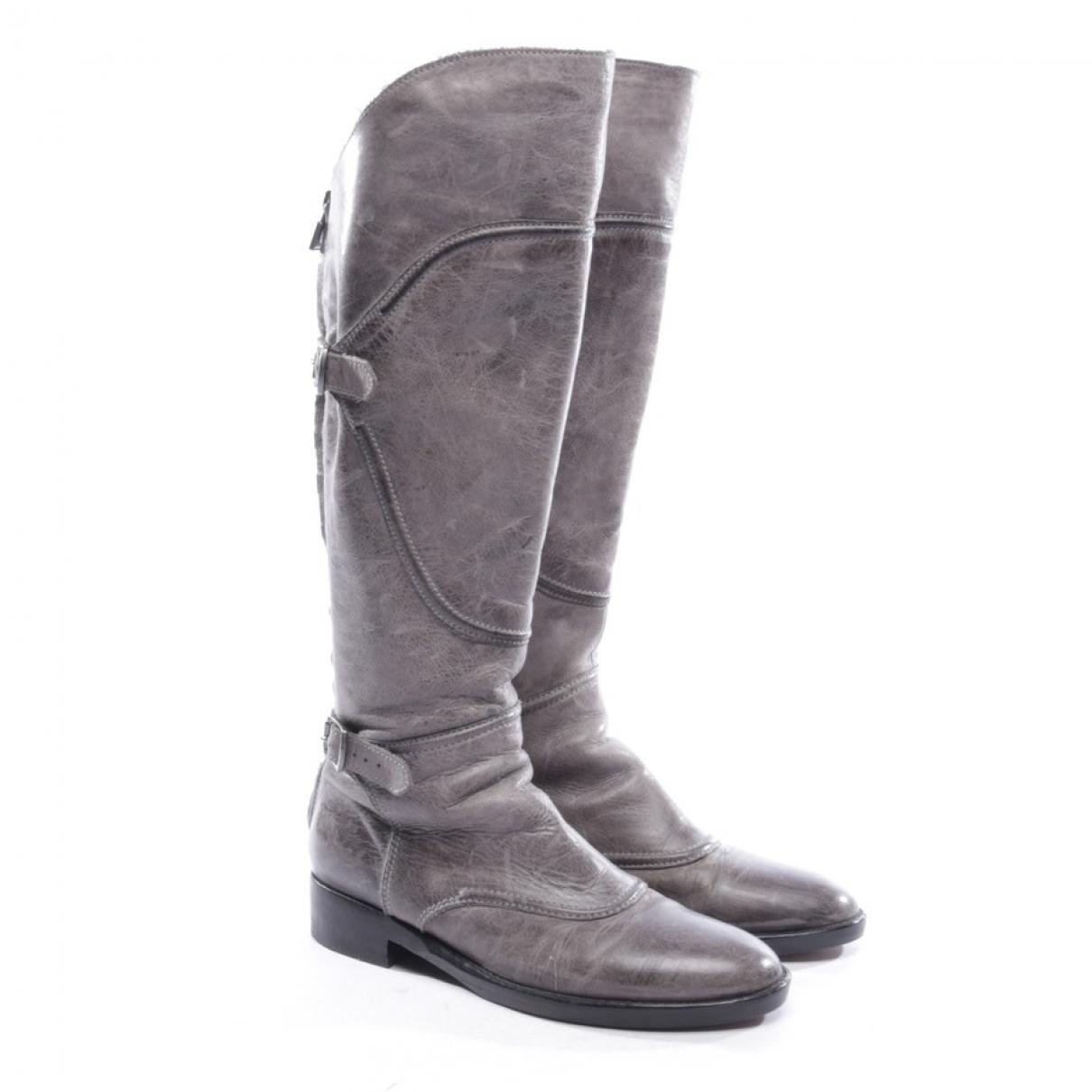 Belstaff - Bottes   pour femme en cuir - gris