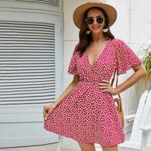 Kleid mit Flatteraermeln, V Kragen und Bluemchen Muster