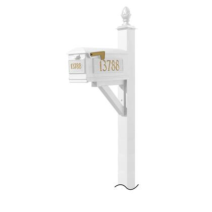 WPD-NB-S3-LM-3P-WHT Westhaven System with Lewiston Mailbox  (3 Cast Plates) (No Base) Pineapple Finial in