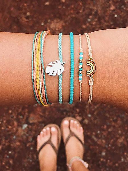 Yoins Handwoven Leaves Rainbow Beaded Stone Bracelet Set