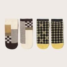 2pairs Men Plaid & Striped Pattern Ankle Socks