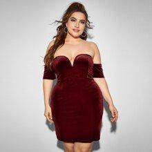 Plus V-bar Off Shoulder Velvet Dress