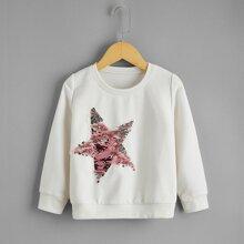 Toddler Girls Reversible Sequin Star Patched Sweatshirt