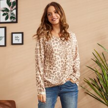 LUUKSE Drop Shoulder Leopard Sweatshirt