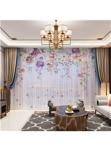 3D European Style Colorful Floral Printed Decorative 2 Panels Custom Sheer