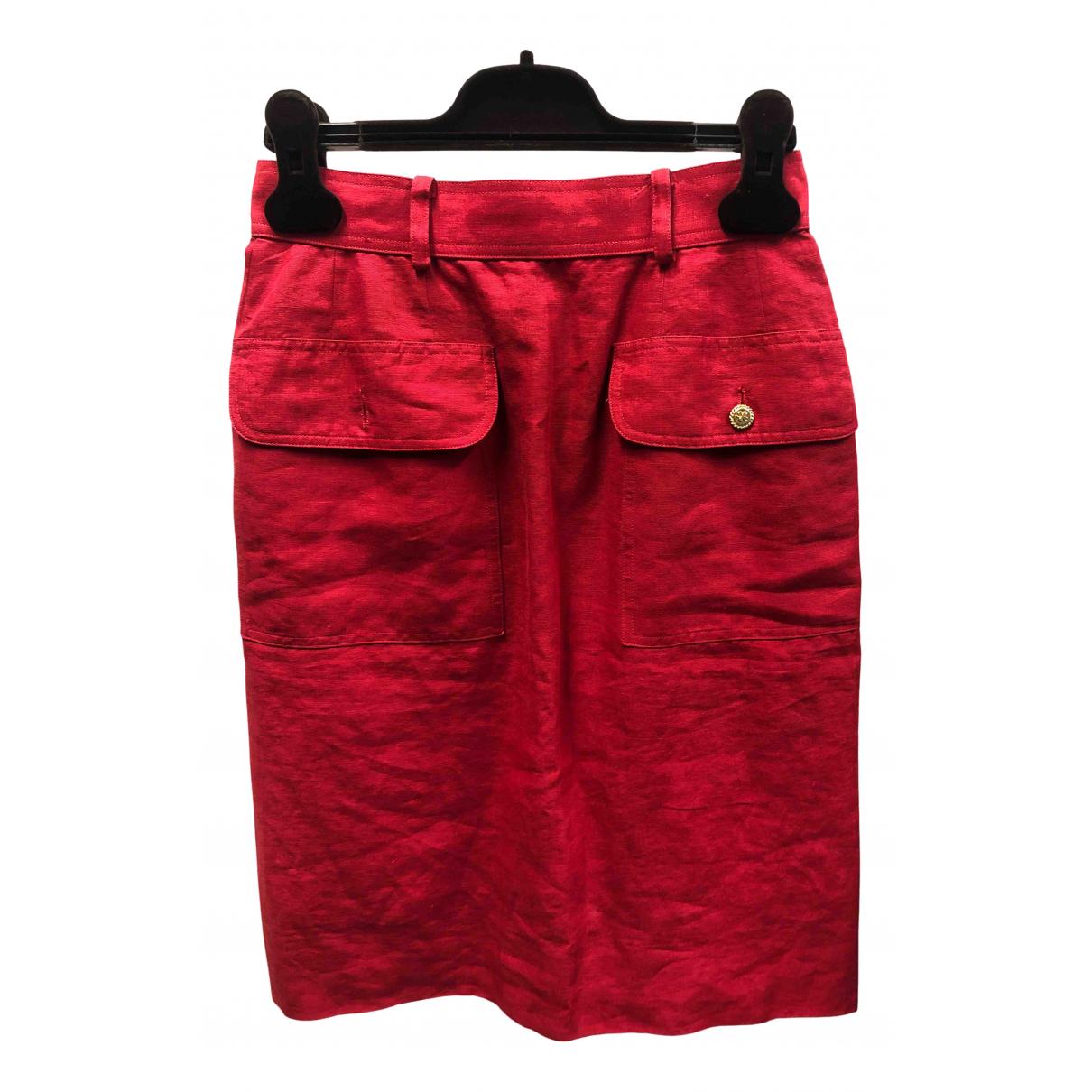Chanel N Red Linen skirt for Women 34 FR