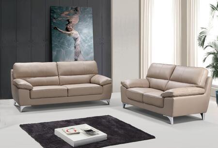 343897 64 X 36 X 37 Modern Beige Leather Sofa and