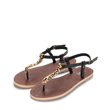 Yoins Leopard Pattern Strap T-bar Design Flat Sandals