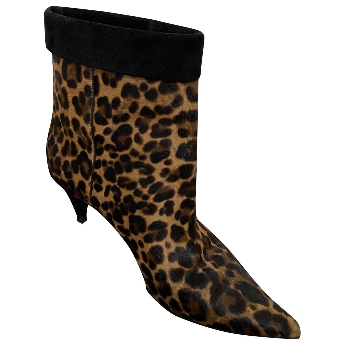 Saint Laurent - Boots   pour femme en veau facon poulain - multicolore