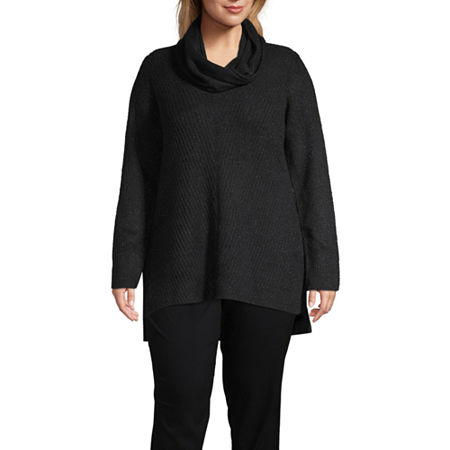 Liz Claiborne Long Sleeve Tunic Sweater - Plus, 2x , Black