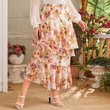 Plus Layered Ruffle Floral Skirt