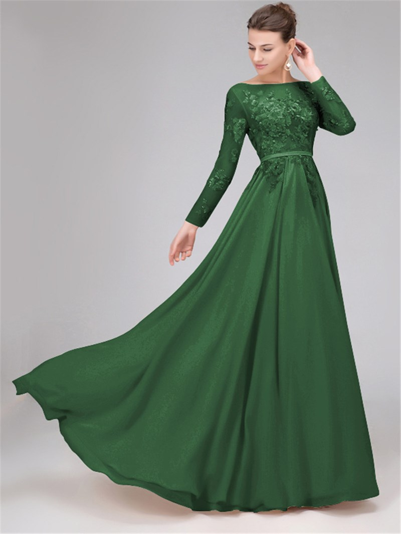 Ericdress Sequins Long Sleeves Backless Evening Dress