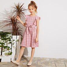 Kleid mit Raffung Armloch, Selbstguertel und Karo Muster
